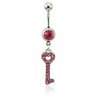 Wholesale Body Piercing Fashion Belly Button Rings L Stainless Steel Barbells Pink Rhinestone Keys Navel Piercing Jewelry