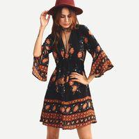 bell skirt pattern - 2016 Autumn European woman fashion sexy New Pattern Printing bell Sleeve Dress Shivering Skirt