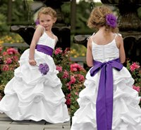 beautiful tires - Beautiful Flower Girls Dresses Spaghetti Strap Ruched Pleats Bow Sash Ball Gown Girl Pageant Dresses Tired Girl Formal Dresses DF