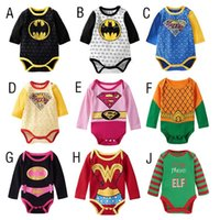 baby boy onesies lot - 2016 New Halloween Baby Triangle Jumpsuits Cute Baby Girls Boys Superman Batman Rompers Kids Cotton Onesies Outfits