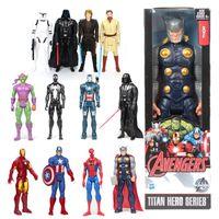 Wholesale 30cm Black Spiderman Captain America Ironman Green Goblin star wars darth vader Action Figure Super Heroes PVC Toy Kids wolverine inch