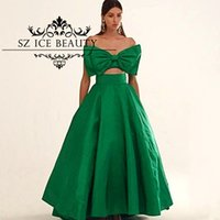 big chic - Arabic Green Two Piece Puffy Prom Dresses Fast Shipping Chic Big Bow African Dubai Women Long Evening Gowns Party Formal Dress