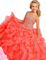 Wholesale Pageant Dresses Princess Ruffle Beaded Sequins Tiered Organza Girl s Formal Dresses