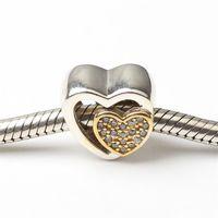 UB584 Nuevos 925 encantos de la plata esterlina 2016 amantes del regalo del regalo Cristales 14k del corazón del oro de los granos del día de tarjeta del día de San Valentín para las pulseras del hilo de rosca Mujeres Joyería