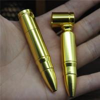 al por mayor metal in roll-1pc Medio bala del metal de aluminio pipa Shisha cachimba Grinder regalo de batir del tabaco Cigraette Pipe