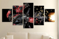 automatic spray painting - 5Pcs With Framed HD Printed deadpool mask gun automatic Painting Canvas Print room decor print poster picture canvas paintings