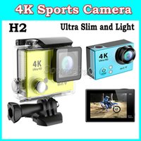action light lens - Ultra Slim Light HD K Sports Camera Waterproof M H2 Action Camera Gopro Hero4 Style WiFi HDMI quot LCD Screen wide angle Lens