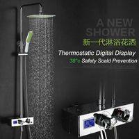 bar shower mixer - European Style Digital Thermostatic Shower Set Water Power Shower Mixer Rainfall Shower Head Exposed Slide Bar Shower Sets
