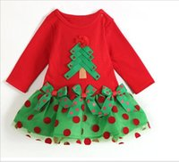 Wholesale Fashion exquisite Girl Christmas Lace Dresses Long Sleeve Dress wave point children s clothing female infant gauze bag fart skirt fall style