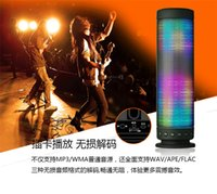 audio visual lighting - 2016 New Hi Fi Portable Wireless Bluetooth Speaker LED Light Visual Display Powerful Sound Build in Microphone Hands free TF card