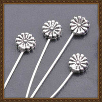 ball chrysanthemum - jewelry finding DIY Chrysanthemum alloy pearl ball beads ending pin retro silver plating jewelry finding headpin MP610004 x6mm