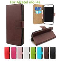 caso del teléfono del tirón de cuero para Alcatel One Touch 4 Pop cubierta interior con ranuras para tarjetas de crédito para 4S ídolos Alcatel