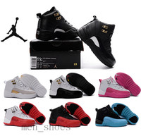 autumn shoes - Kids Nike Air Jordan Shoes Children Basketball Shoes Boy Girl Retro12s Black Sports Shoes Toddlers Jordan Athletic Shoes Birthday Gift