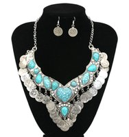 Wholesale Bohemian Ethnic Peach Heart Natural Turquoise Stone Multilayer Coins Tassel Necklaces Women Retro Tibetan Necklace Earrings Jewelry Sets