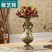 ancient ceramic - European style of the ancient vase Home Furnishing living room decoration decoration ceramic table American small dry flower vase is inserte
