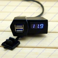 Wholesale Motorcycle ATV Quad Handlebar USB Port Phone Charger Blue Voltmeter in
