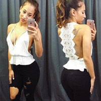 Wholesale Crochet Womens Vest - 2016 Summer New Fashion Womens Tank top Sexy lace tops Crochet Back Hollow-out woman Vest Camisole lace Whit Vest