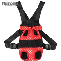 backpack bow carrier - Fashion Pet Bows Backpack Dog Carrier Dot Pattern Pets Cat Head Out Double Shoulder Outdoor Bag