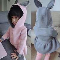 Wholesale 2016 new spring and autumn children s coats pure cotton overcoat girls outwear with cap girls long sleeve Bunny Hood coat