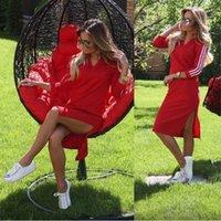 american apparel dress - Women Autumn New casual red dresses wtih white stripped long sleeve V neck split bottom plain dress american apparel clothing on sale