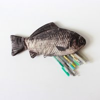 Wholesale Fish Pencils Bags Cute Simulation Plush Pencils Case New Case Large Capacity School Supplies Stationery Hot animal Pen Box