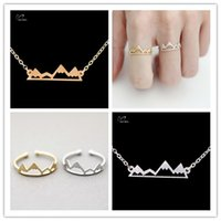 american mountains - 2016 New Women Wedding Gift K Gold Plated Jewelry Set Vintage Accessories Simple Mountain Ring Charm Necklace Bijoux S98