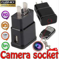 Wholesale 1080P Full HD Plug Camera S303 hidden mini socket camera Remote control Covert Spy Camera Webcam with Motion Detection home security
