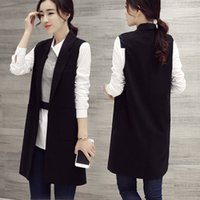 Wholesale The elegant simplicity of pure black sleeveless vest suit vest rounded collar coat long section of Ms vest
