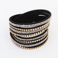 Wholesale DHL New Punk Rhinestone Bling Crystal Fashion Wrap Bracelets Slake Deluxe Double Wrap Leather Bracelet