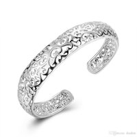 agate designer - New Brand Designer Charming Bride Wedding Jewelry Shiny Rhinestone Hollow Silver Wide Bracelet For Women
