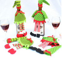 bags for wine bottles - Xmas Christmas Wine Bottle Cover Bag Sets with Christmas Hat Clothes for Christmas Elf Champagne Table Decoration KKA896