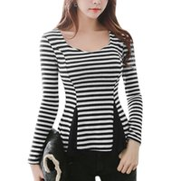 bar t shirt designs - Women s T Shirt Chuvivi Unique Fashion Apparel Brand New Scoop Neck Bar Striped Panel Design Peplum Tops Tees