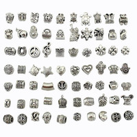 achat en gros de perles d'espacement-Bead Mix Style Antique Argent Plaqué Alliage Big Hole Charms Spacer Beads adapter pandora bracelet DIY Bijoux Colliers Pendentifs Charms Beads