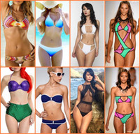 beachwear swimwear bikini - 2016 Hot Sexy Womens Bikini Swimwear Push Up with Straps Patchwork Boho Swimsuit Ladies Bathing Suit Beachwear Many Styles