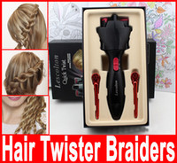 Wholesale Hair Twister lescolton quick twist tie artifact braided hair braided automatic machine Hair Twist tool with retail box without battery