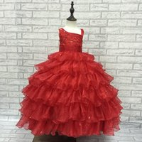 ankle nail - Cute Bright Red Ball Gown Flower Girls Dresses nail bead Girl Dresses Little Girls Pageant Dress