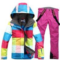 Wholesale GSOU SNOW Women Hoodie Waterproof Ski Jacket and Ski Pants Windproof Winter Warm Ski Suit