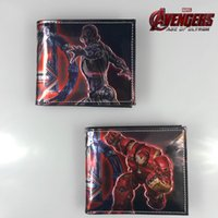 animations bag holders - Marvel Comics Wallet The Avengers Iron Man Leather Wallets Cartoon Animation Card Holder Bags