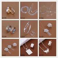 Wholesale women s sterling silver jewelry sets sets a mixed style EMS67 fashion silver Necklace Bracelet Earring Ring jewelry set