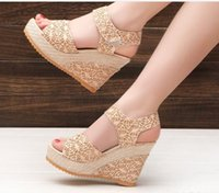 Wholesale The new spring and summer hot style sexy gold screen cloth snakehead mouth wedge sandals sandals women s shoes