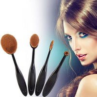 Wholesale 2016 Pro Toothbrush Shaped Eyebrow Foundation Power Face Eyeliner Lip Oval Cream Puff Brushes Makeup Beauty Tools