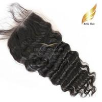 Extensiones malasias del pelo humano de la Virgen profunda de la onda de la armadura del encierro del cordón liberan el envío libre del grado sin procesar de la tapa 7A del encierro del pelo