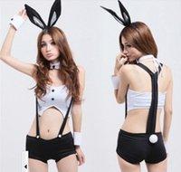 Wholesale Sexy Bunny Lingerie Cosplay - Wholesale-2016 Sexy Bunny Girl Maid Costume Halloween Cosplay Uniform Fancy Bunny Lingerie Dancing Costumes Rabbit Ears +Tops + Bib Short