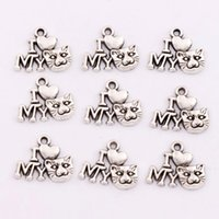 Charms cat charms - MIC x14 mm Antique Silver I Love Cat Animal Spacer Charm Beads Pendants Alloy Handmade Jewelry DIY L1154