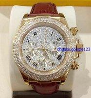 NUEVO 2015 HOT- Marca de fábrica nueva del lujo 18k de oro rosa diamante de extendido de marcado automático 116509 del reloj para hombre cuero de los hombres de la correa de Deporte Wr