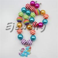 american dash - fashion jewelry alloy Rainbow Dash My Little Pony horse pendant Rainbow rhinestone beads chunky bubblegum necklace bracelet set CB738