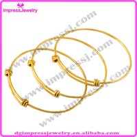 Cheap IJB0273 Factory Supply Fashion Jewelry Simple Copper Wiring Bracelets For Beading Charm Triple Loop Expandable Bangles