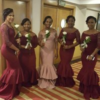 africa portrait - 2016 New Elegant Bridesmaid Dresses Long Sleeves Portrait Mermaid Evening Gowns For Wedding Maid Of Honor Dresses Africa Wear Plus Size