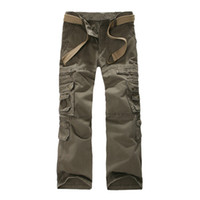 big mens work pants - 2016 Casual Mens Military Cargo Pants More Pockets Zipper Trousers Outdoors Overalls Big Size Army Pants Work Wear