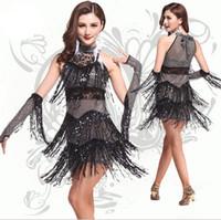 achat en gros de jaune haute robe à col-2016 Nouvelle robe latine de danse de salsa de conception pour des femmes, robes de bal de bal de prom 2016, frange de Sequined haut Collar Dancewear noir, rouge, jaune